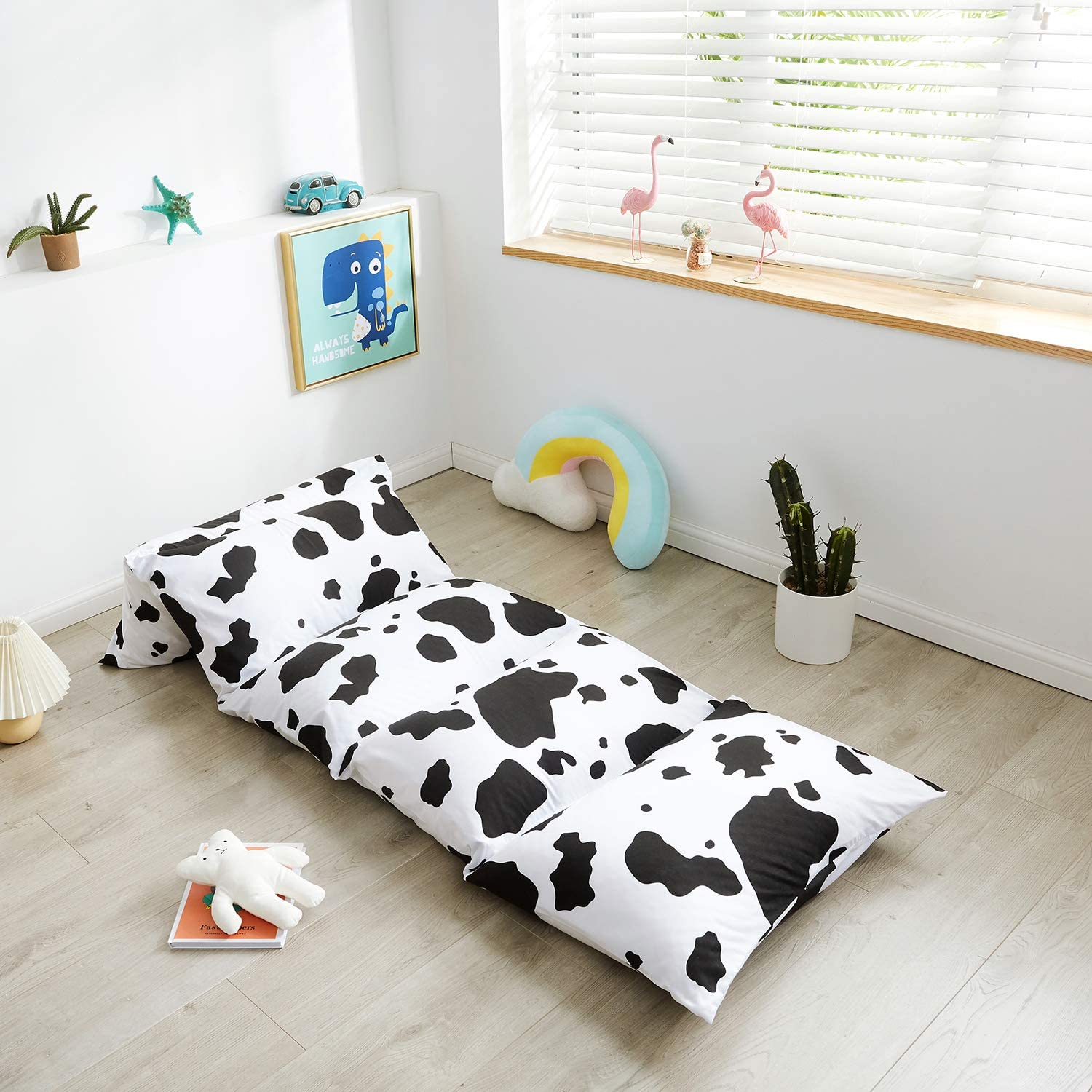 Mengersi Kids Floor Pillow Case Bed Cover,Black White Cow Pattern,Girls Boys Toddler Floor Pillow Cover, Requires 5 Pillows (Pillows Not Included) (Queen, Cow)