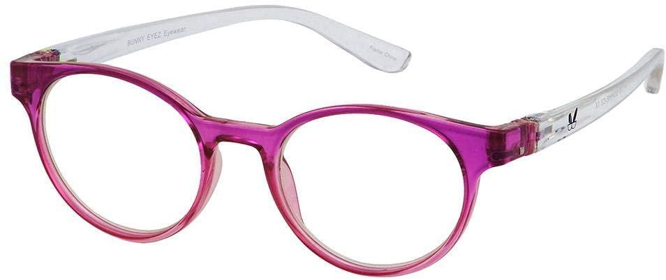 Bunny Eyez Sophie Wearable, Tilt-able, Flip-able Womens Reading Glasses - Fuchsia Pink & Diamond Clear Crystal (+1.50)