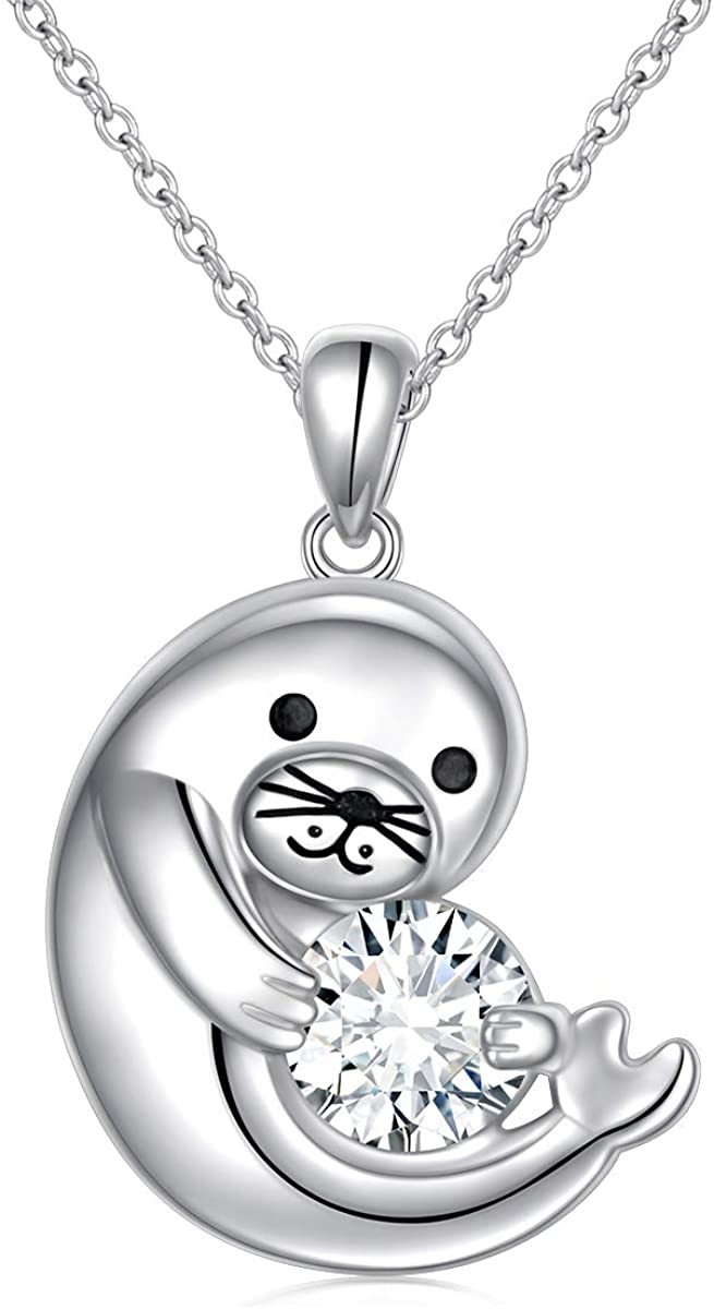 Yearace 925 Sterling Silver Cubic Zirconia Cute Polar Sea Animal Seal Pendant Necklace for Women Teen Girls Birthday Gifts