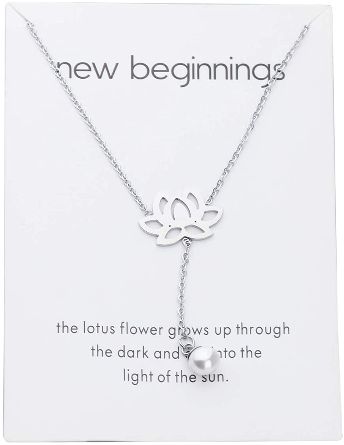 POTIY New Beginnings Rising Lotus Pendant Necklace Sun Y Necklace Lucky Lotus and Pearl Pendant Necklace Inspirational Gift for Womem with Meaning Card