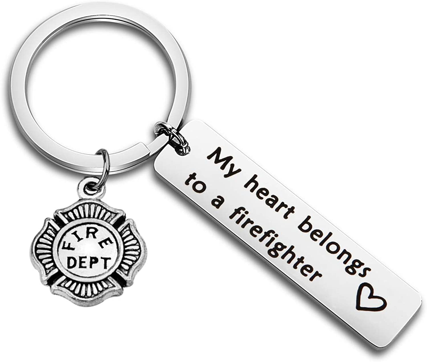 WUSUANED My Heart Belongs to A Firefighter Keychain Gift for Fireman Mom Wife Daughter Girlfriend