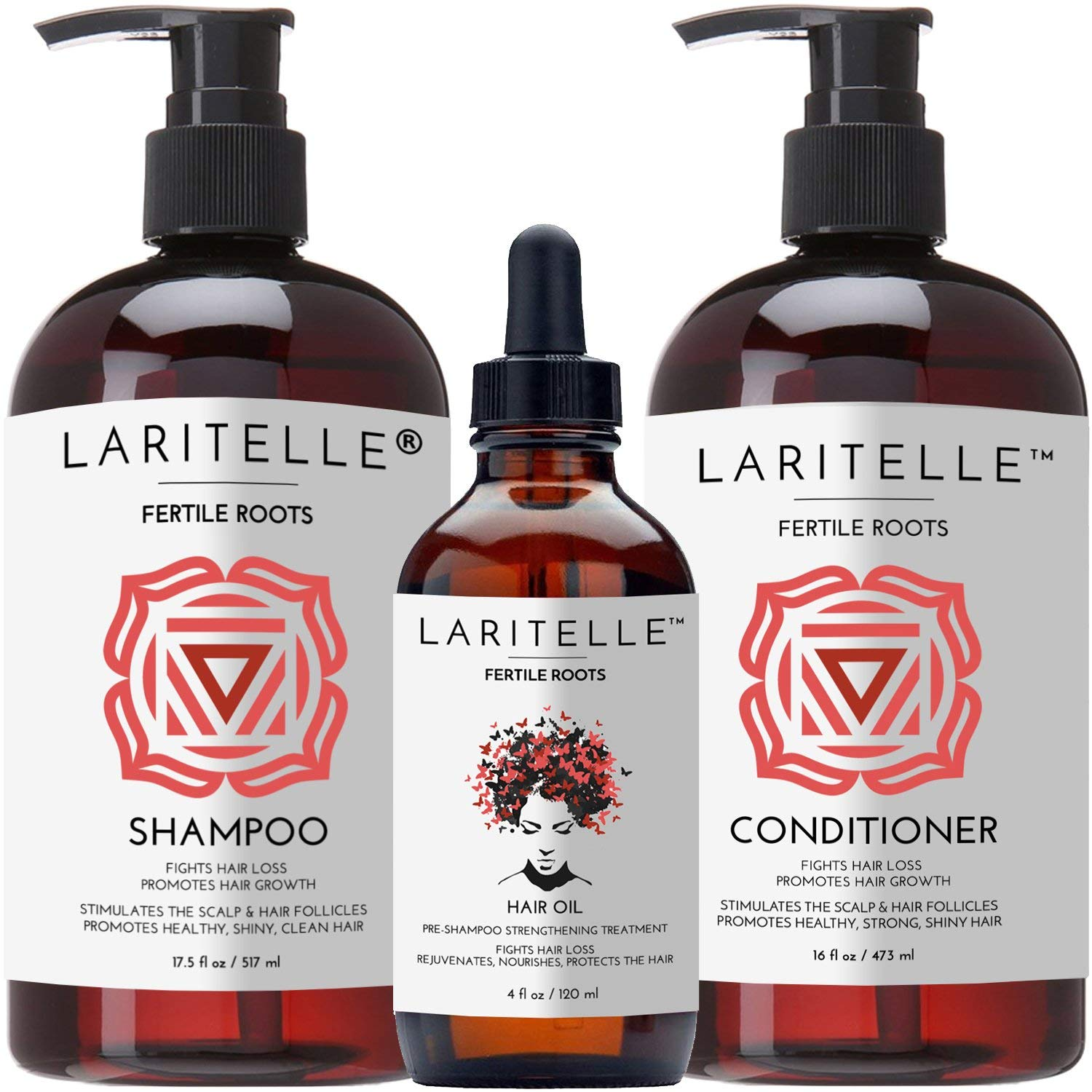 Laritelle Organic Hair Growth Set | Shampoo 17 oz + Conditioner 16 oz + Hair Loss Treatment 4 oz | Ayurvedic Herbs, Lavender, Ginger, Rosemary | NO GMO, Sulfates, Gluten, Alcohol, Parabens, Phthalates