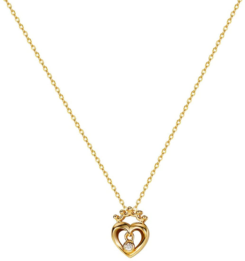 Carleen 14K Solid Yellow Gold CZ Cubic Zirconia Delicate Love Crown Heart Pendant Necklace For Women, 16 + 2 Extender