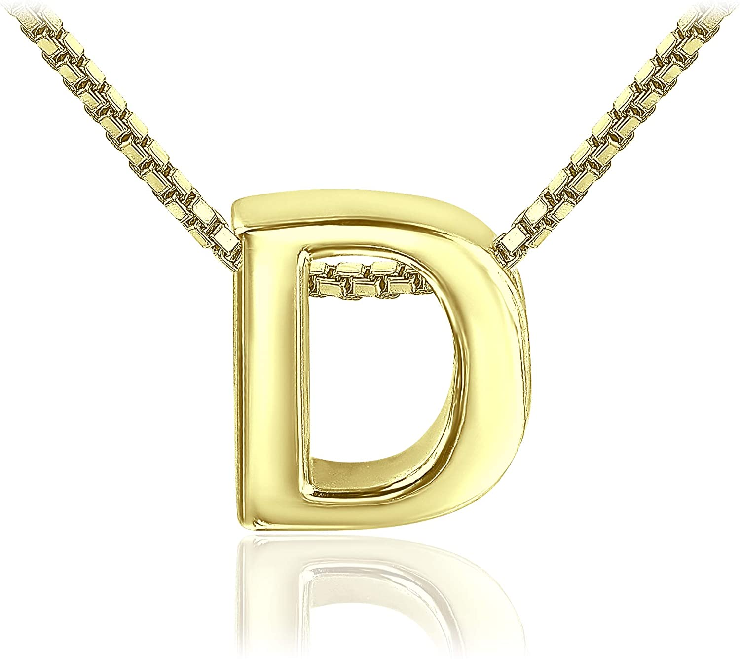 Sea of Ice 925 Sterling Silver Initial Alphabet Capital Letter A-Z Personalized Gift Pendant Necklace, 18