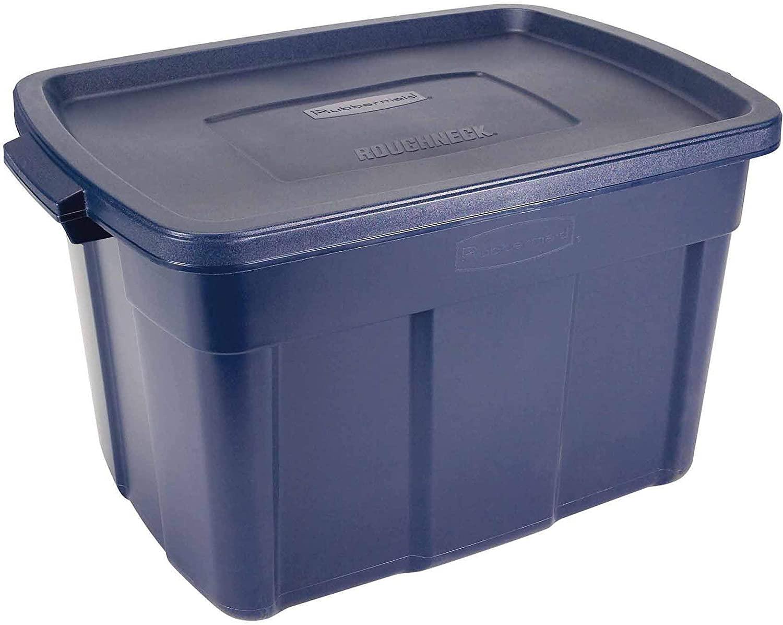 Rubbermaid 25 Gallon Roughneck Storage Container, 25 Gal - 4 Pack, Dark Indigo Metallic