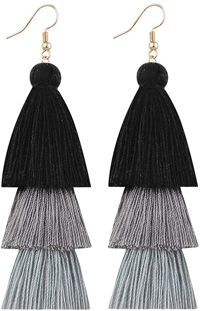 Herfair Colorful Layered Tassel Earrings Handmade Tiered Thread Tassel Dangle Earrings, Multi Colors