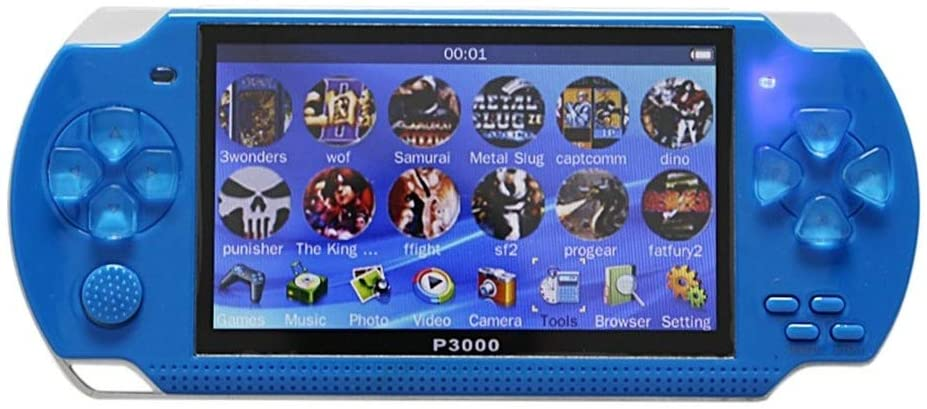 4.3inch Handheld Game Console 8Gb Portable Video Game Built-in 10000 Free Classic Games Support Mp3/4 US Plug (Blue)