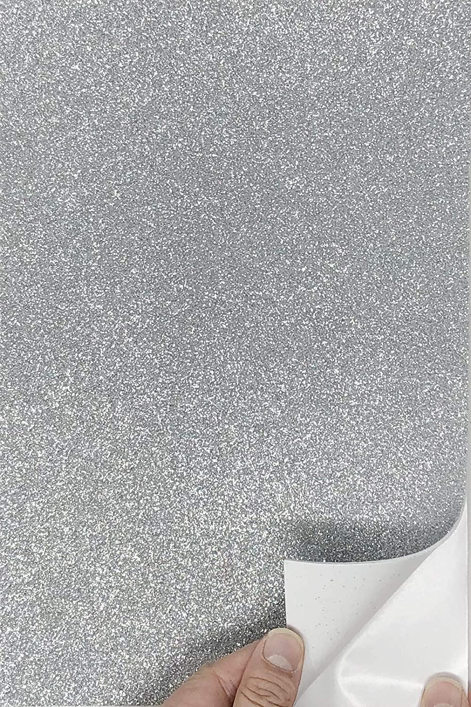 Allgala 12 Pack Self-Adhesive Glitter EVA Foam Paper 8x12 Inch Sheets-Silver-CF85202