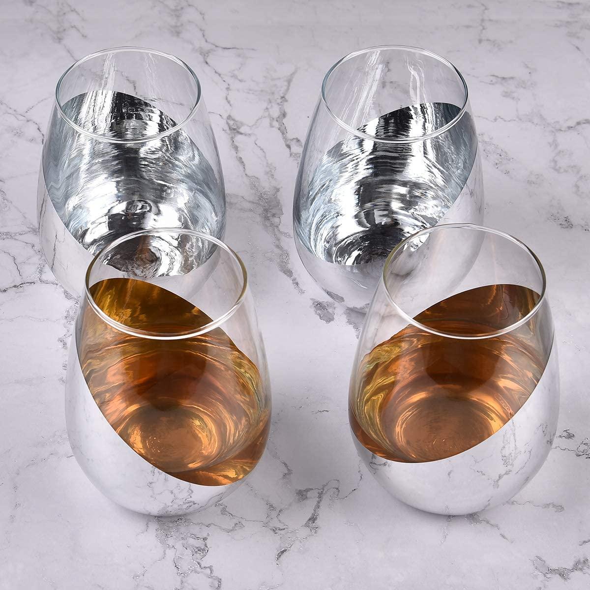Modern Silver Stemless Wine Glasses, Set of 4 Half Silver Plated Wine Glasses for Women Men Wine Lover, 15Oz