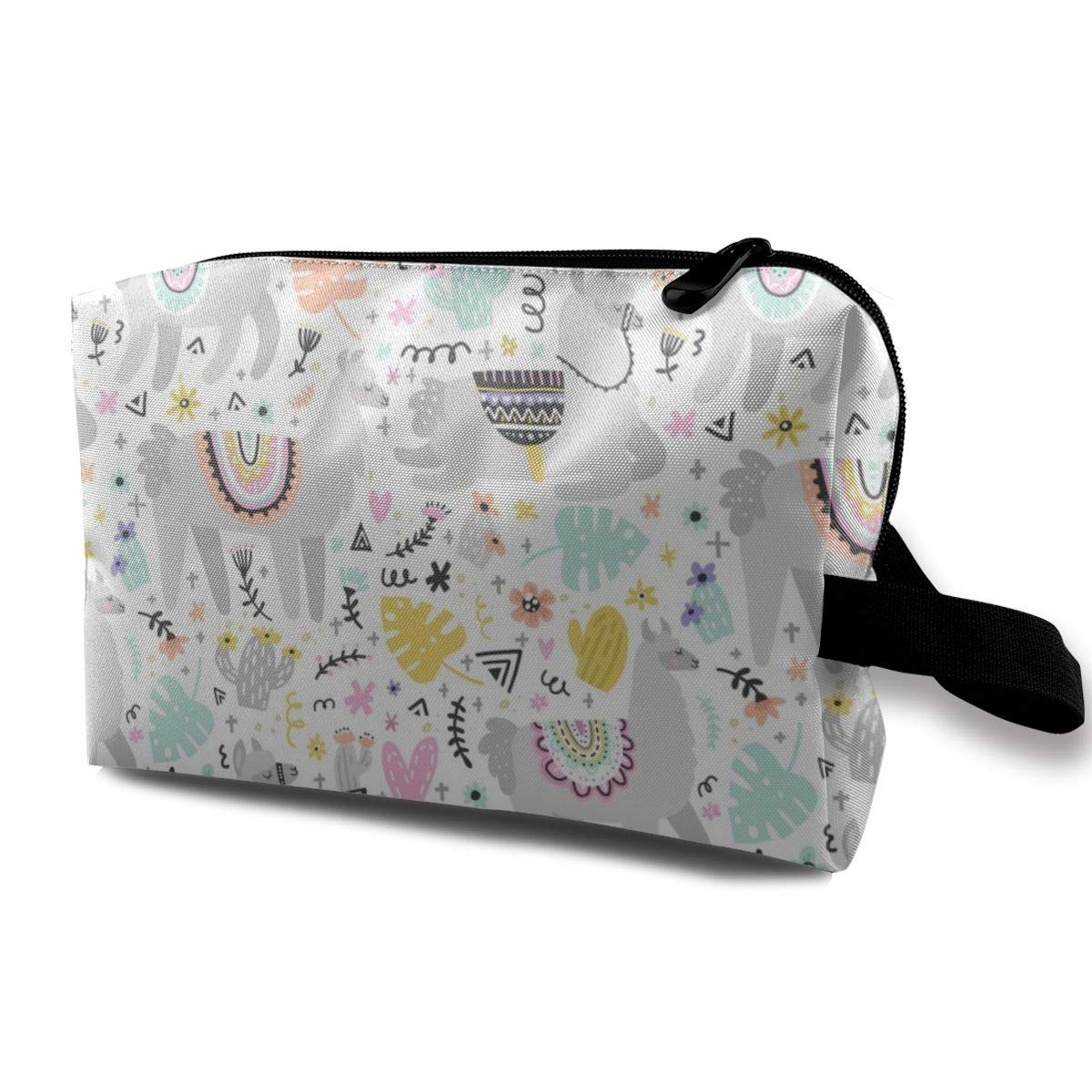 Happy Gray Llama Cactus Turtle Leaf Women Cosmetic Makeup Bag Family Toiletry Bag Accessories Organizer Children Pencil Case for Travel School Vacation
