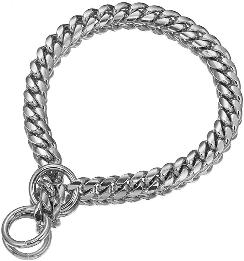 Aiyidi Heavy Duty Pet Collar, Wide 12/15/18mm Silver Dog Chain, Cuban Curb Link Dog Collar, Strong Stainless Steel Metal Chain for Dog - Shepherd Dog, Labrador, Rottweiler, Bulldog