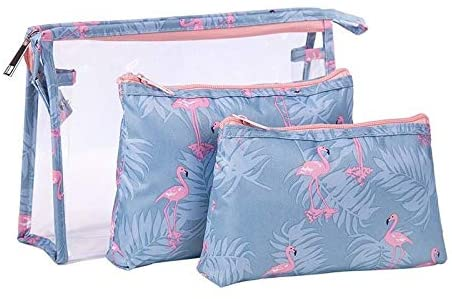 King Wings 3 in 1 Cosmetic Bag,Travel Makeup Bag Waterproof Makeup Storage Pouch with Zipper for Women Girls (E)