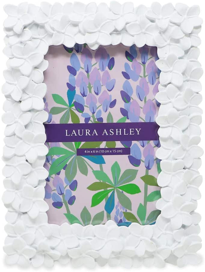Laura Ashley 4x6 White Flower Textured Hand-Crafted Resin Picture Frame w/Easel & Hook for Tabletop & Wall Display, Decorative Floral Design Home Décor, Photo Gallery, Art (4x6, White)