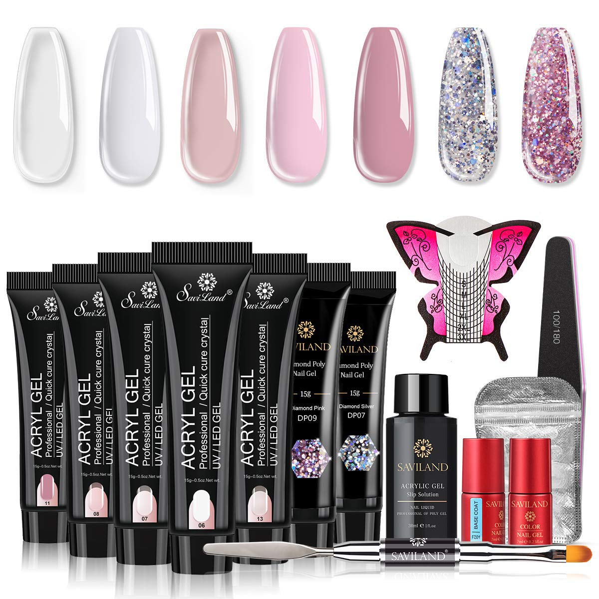 Saviland Poly Nail Gel Kit - Glitter Poly Nail Gel 7 Colors Builder Gel Nude Nature Series Nail Extension Gel Nail Enhancement Manicure Kit for Gel Polish Starter and Professional Nail Technician