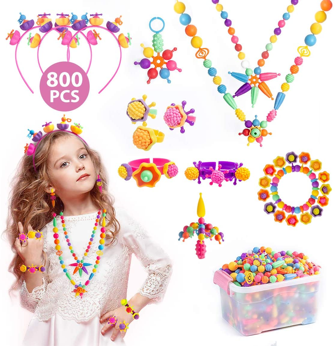 Subao Pop Beads Kids Arts and Crafts Creativity Toys for 3,4,5,6,7,8 Year Old Girls Gifts