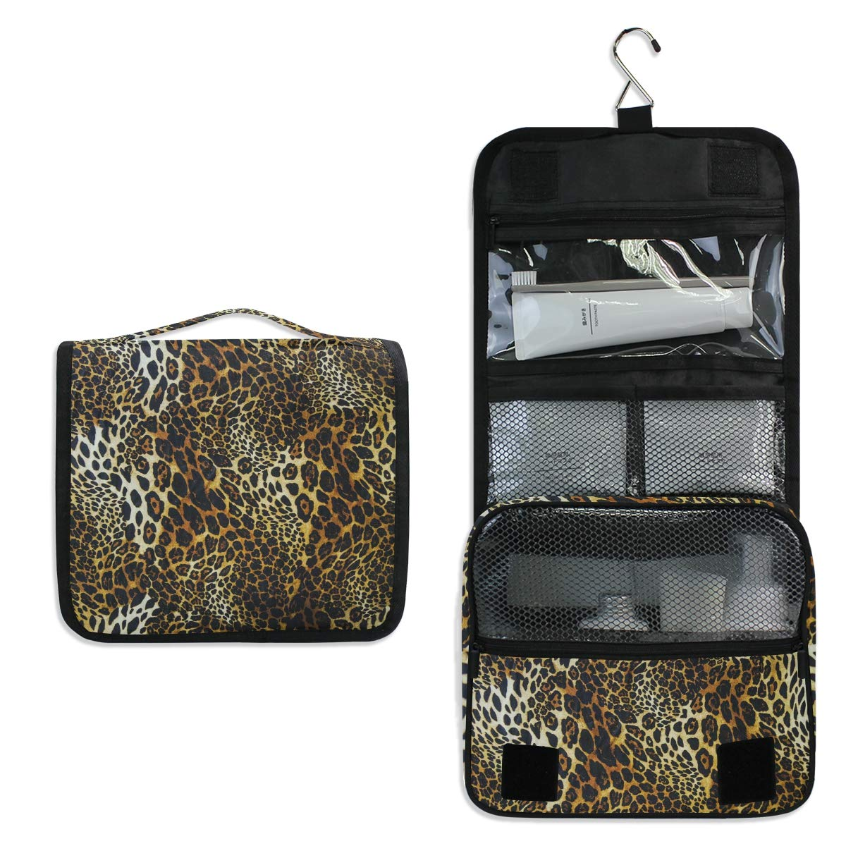 AUUXVA Hanging Toiletry Bag Animal Leopard Print Travel Cosmetics Bag Portable Toiletry Kit for Women Men