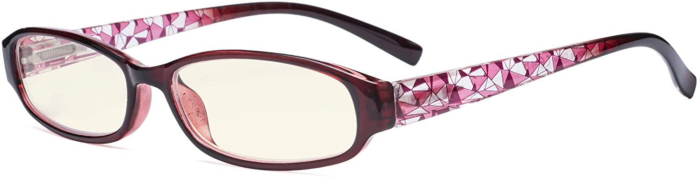 Eyekepper Small Lens Blue Light Filter Glasses Women - Anti Digital Glare Blocking UV Rays Reduce Eye Strain Computer Eyeglasses - Red Frame