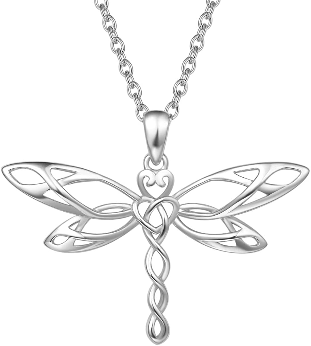 FANCIME Sterling Silver Vivid Dragonfly Pendant Necklace Irish Celtic Heart Shaped Knot Antiqued Animals Necklace Dainty Fine Jewelry for Women Teen Girls,16+ 2