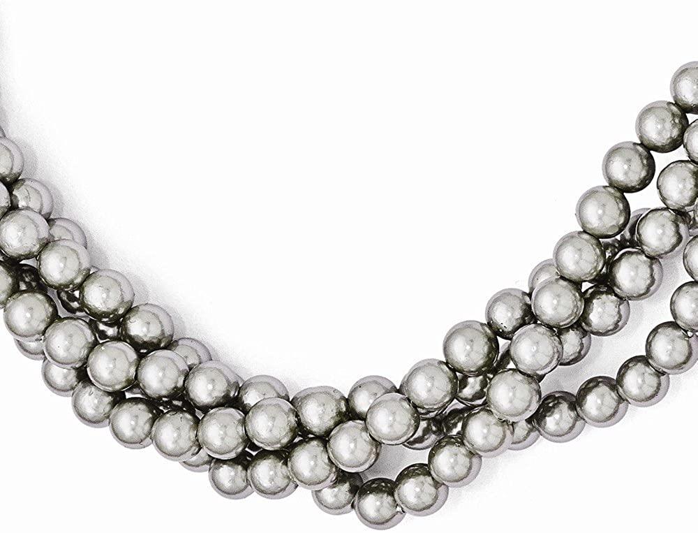 Sterlingmajestik Rh Pl 4row 5mm Grey Imitat Sea Shell Mermaid Nautical Jewelry Pearl Twist Chain Necklace Pendant Charm Bead Fashion Jewelry For Women Gifts For Her