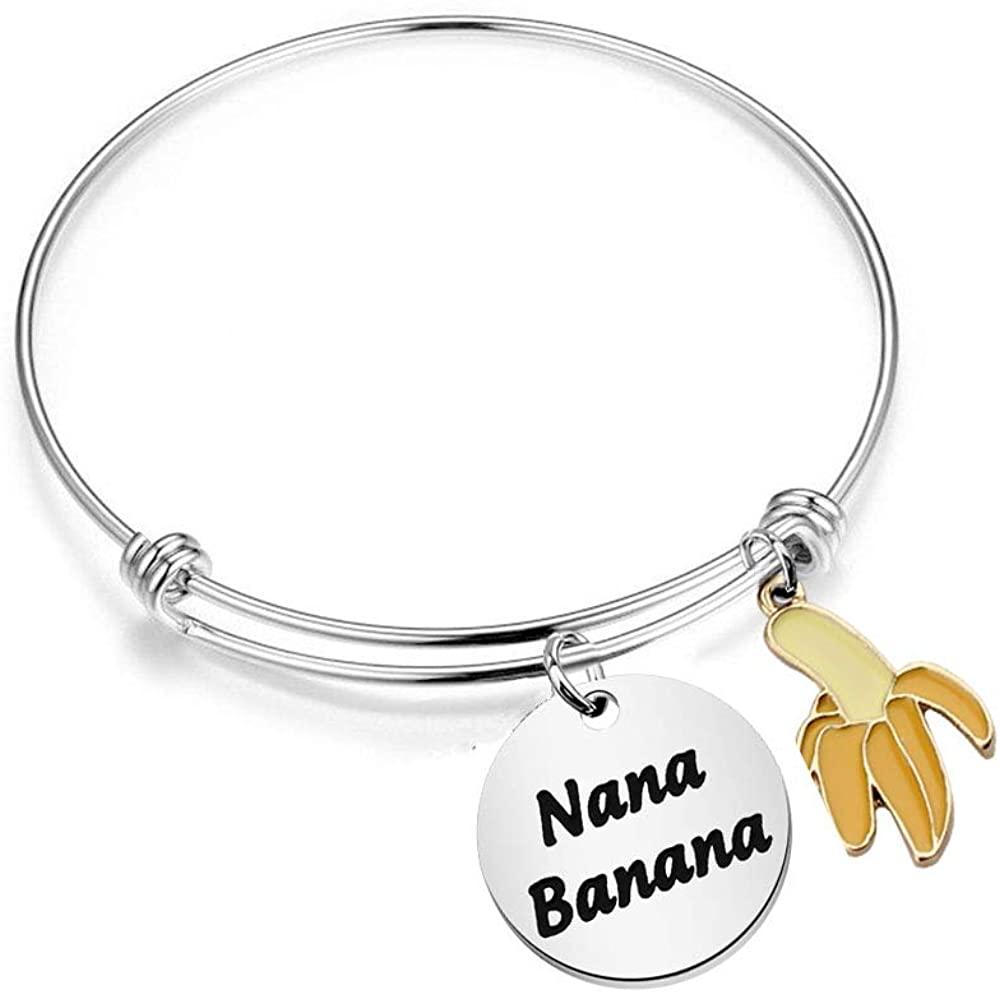 BAUNA Grandma Keychain Ideas Funny Nana Banana Key Ring Grandmother Gift from Granddaughter Grandson For Birthday Mother's Day