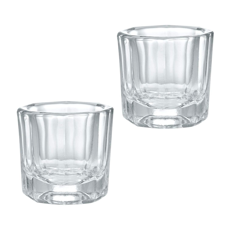 Luxtrip 2 pcs nail dish Nail Art Clear Nail Art Acrylic dampen nail dish Liquid Dappen Powder Glass Crystal Cup Glassware Glass Crystal Cup Glassware Tools for Nail Art Manicure Care Tools