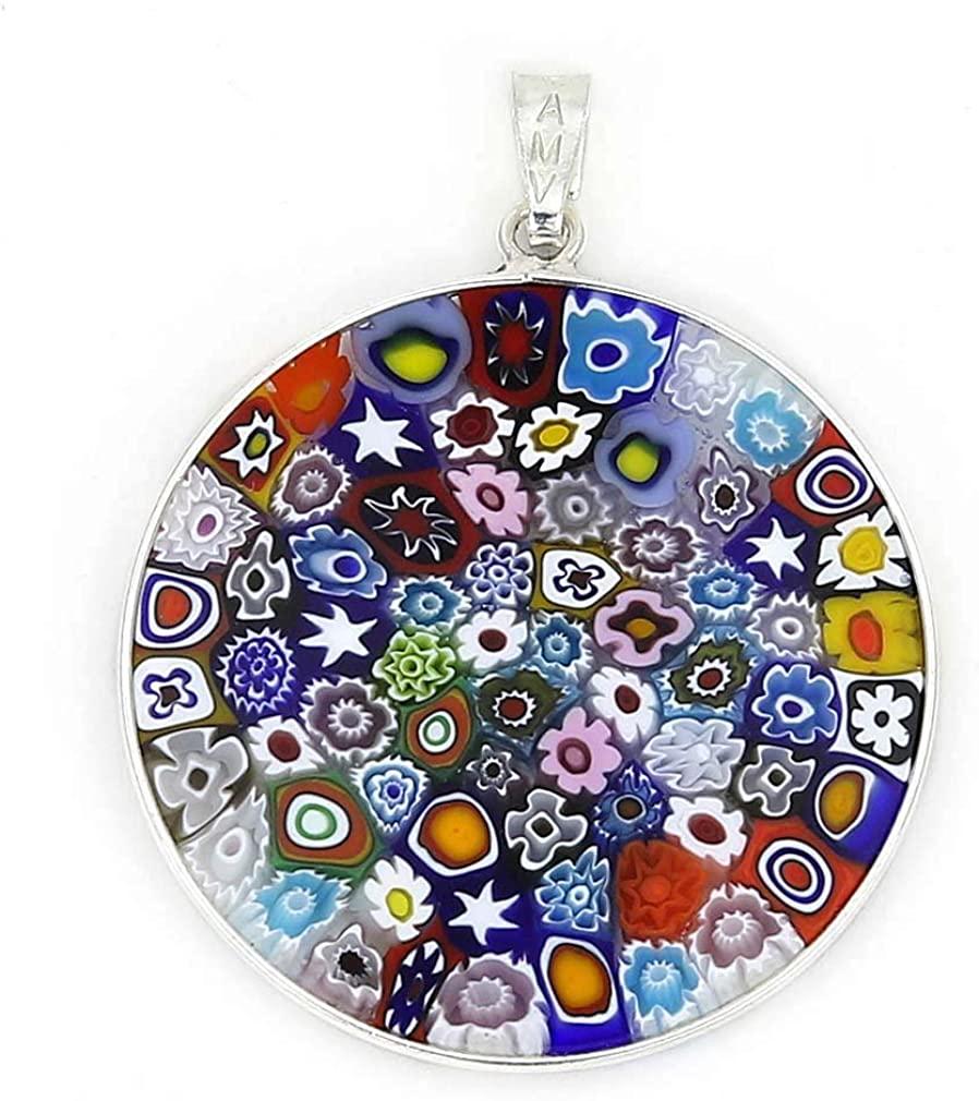GlassOfVenice Murano Glass Millefiori Pendant Multicolor in Silver Frame 1-1/4