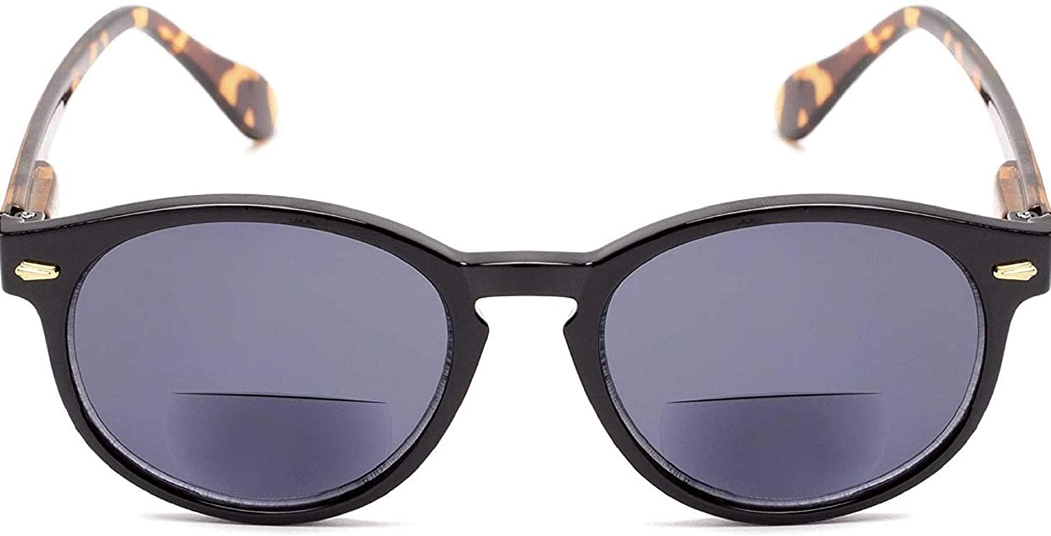 The Drama Bifocal Reading Sunglasses Sun Reader Plastic Round Style for Men and Women, Black/Tortoise with Smoke + 2.00