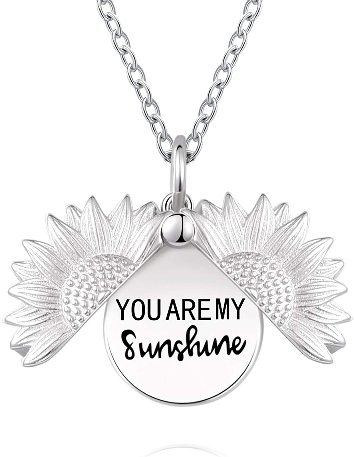 You are My Sunshine Stamped Sunflower Necklace Locket 925 Sterling Silver Pendant Necklace for Women Girls