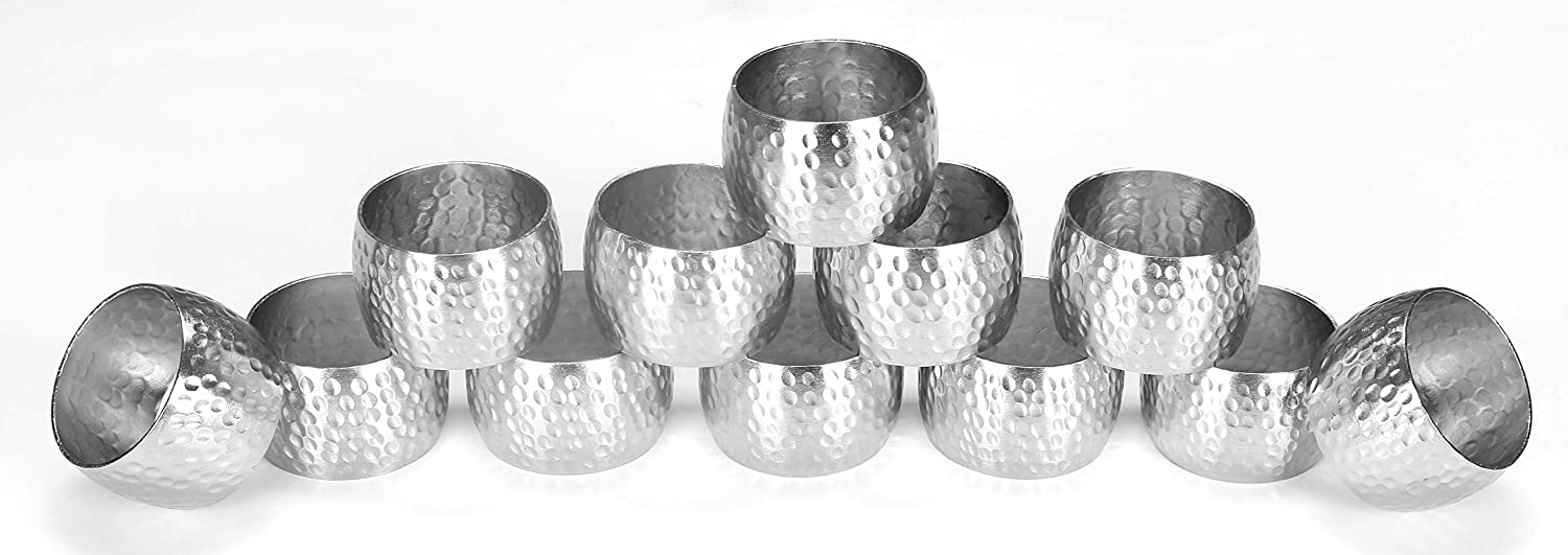Metal Napkin Rings, Hand Made by Skilled artisans, Curved, for Wedding Receptions, Dinners Parties, Family Gatherings, or Everyday Use - Shimmer Silver, Set of 12