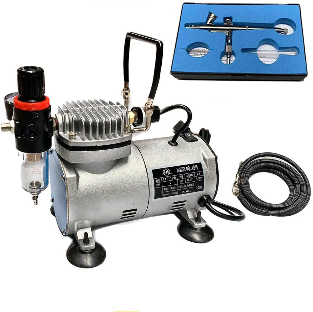 EWANYO Professional Airbrushing Paint System Gravity Feed Dual-action Airbrush Kit with 6Ft Hose and a Powerful 1/6 hp Single Piston Quiet Air Compressor 110V