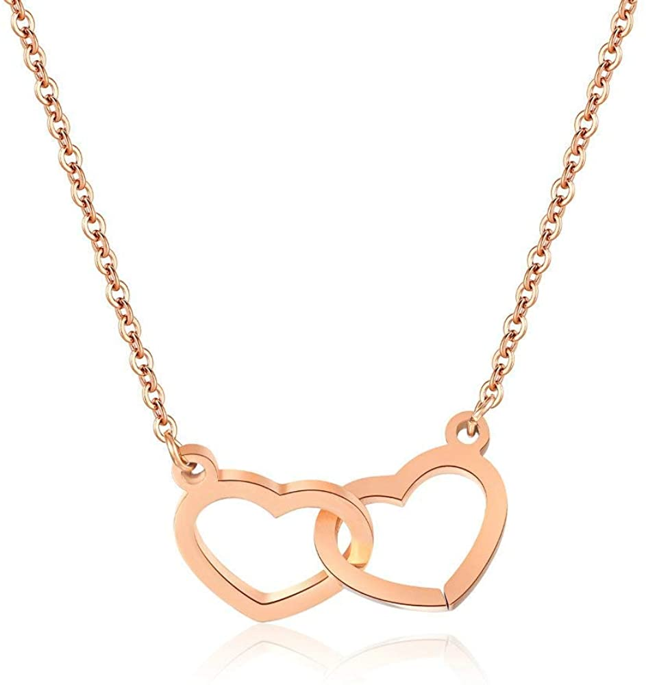 MAOFAED Double Heart Necklace Open Heart Twins Pendant Rose Gold/Silver