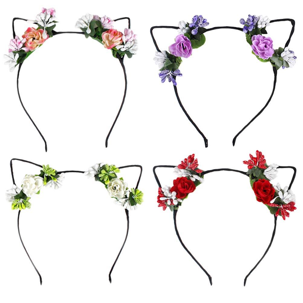 4pcs Cat Ear Headband Colorful Rose and Leaf Decor Hair Hoop Party Ear Headband for Women Girls