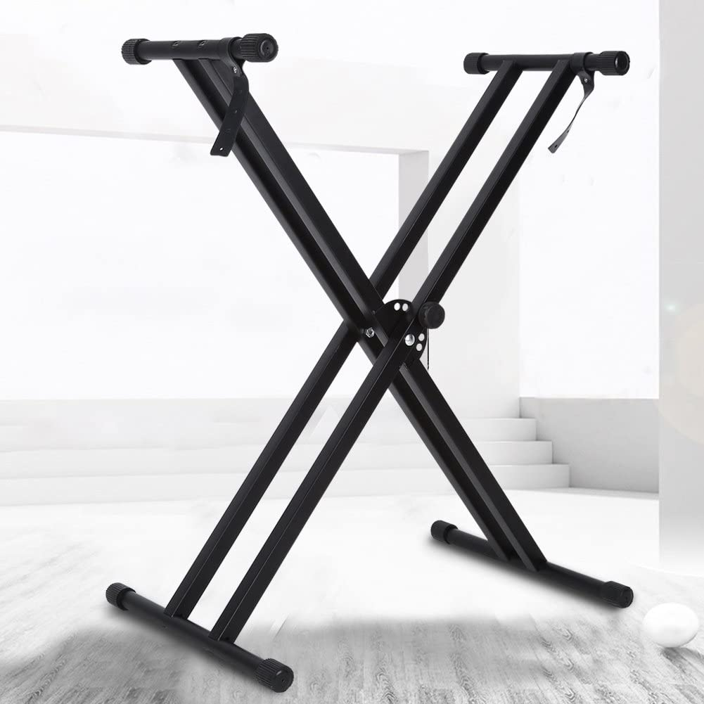 X Type Keyboard Stand, Portable Piano Keyboard Stand Double Braced Music Electric Organ Holder Adjustable Height