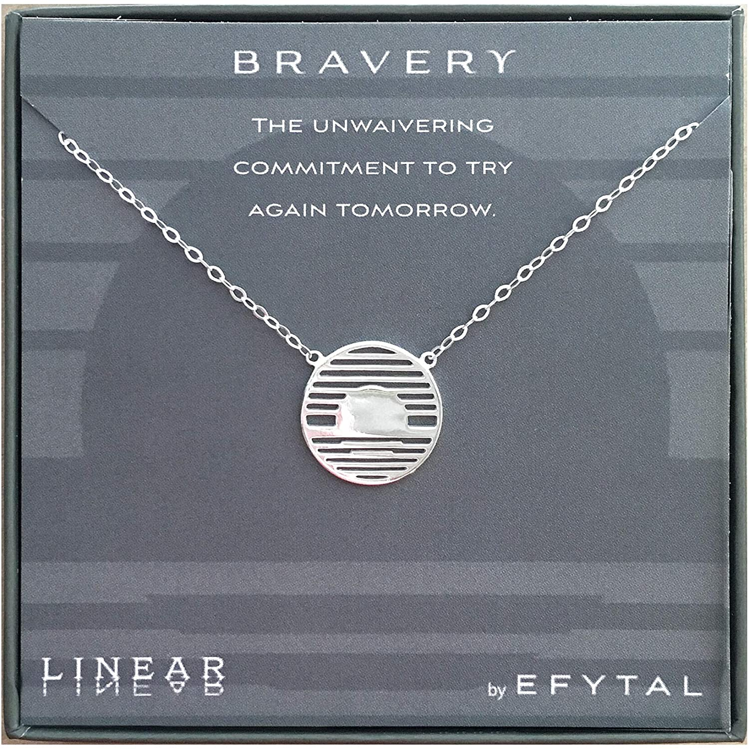 EFYTAL Inspirational Gifts, 925 Sterling Silver Bravery Linear Necklace, Geometric Pendant Jewelry for Women, Motivational Gift Ideas for Her, Best Friend