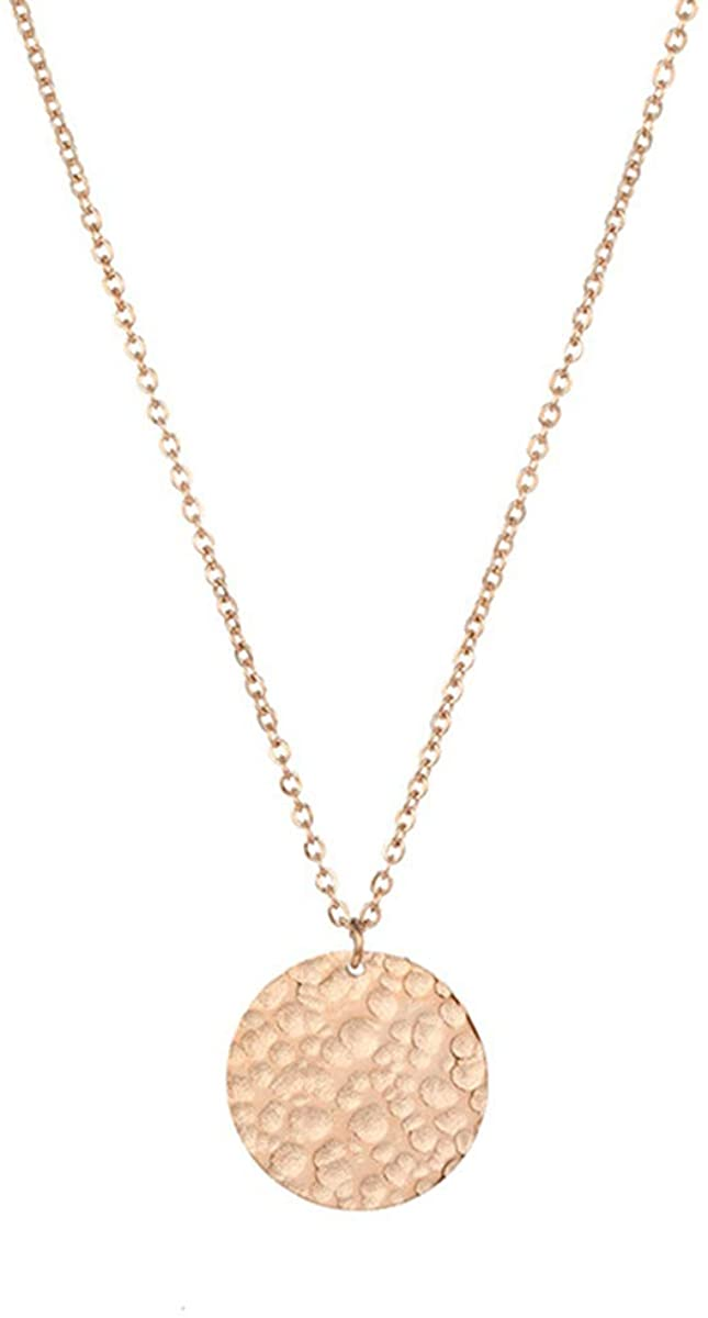 DOONALL Full Moon Pendant Necklace, 14K Gold Plated Chain, Delicate Choker, Simple Jewelry, for Women & Girls