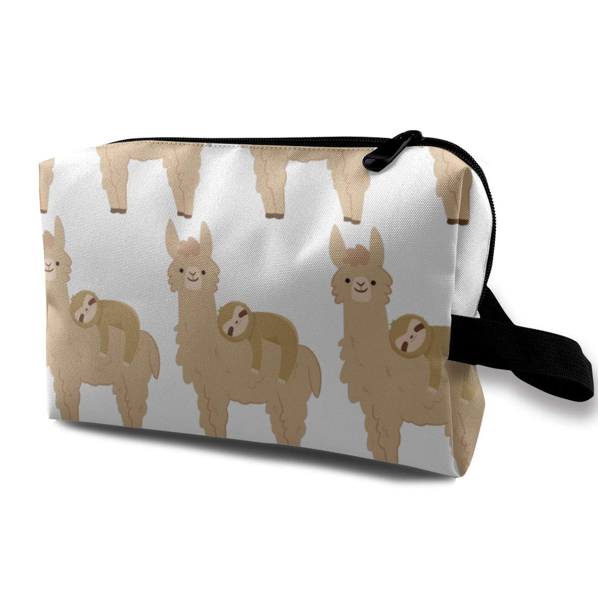 Travel Toiletry Bag for Men Women Toiletries Makeup Bag Cosmetic Organizer Shaving Bag for Business Trip (Sloth Laying On A Llama)