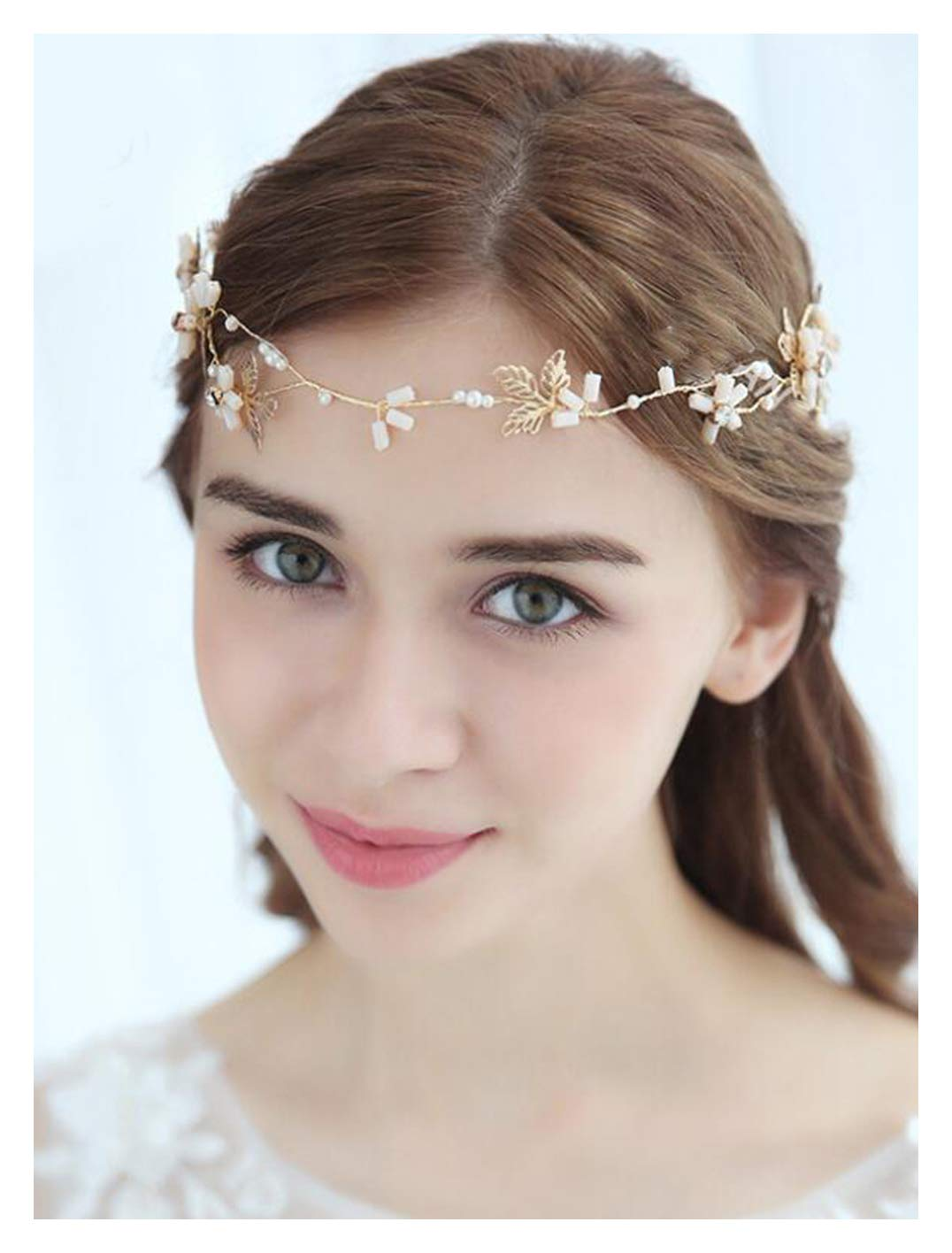 Chargances Bride Floral Gold Hair Pin Gold Headband Wedding Hair Clip Crystal Hair Pin Rhinestone Hair Pin Wedding Hair Accessory HairPiece Boho Delicate Handmade Gold Jewelry Gift for Women and Girls