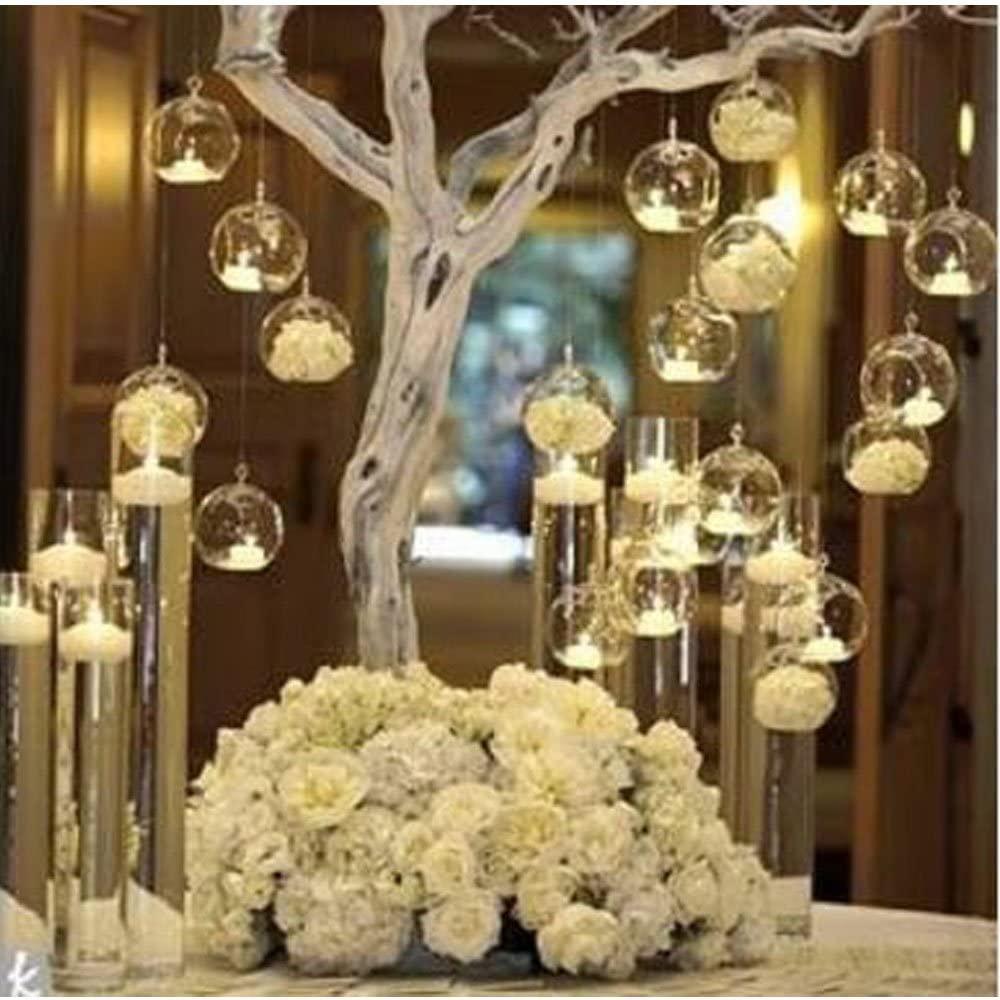 LANLONG 80MM Hanging Tealight Holder Glass Globes Terrarium Wedding Candle Holder Candlestick (18 Pcs/Set) (18pcs)