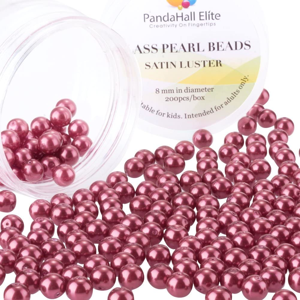 PandaHall Elite 8mm About 200Pcs Tiny Satin Luster Glass Pearl Round Beads Assortment Lot for Jewelry Making Round Box Kit Crimson Red