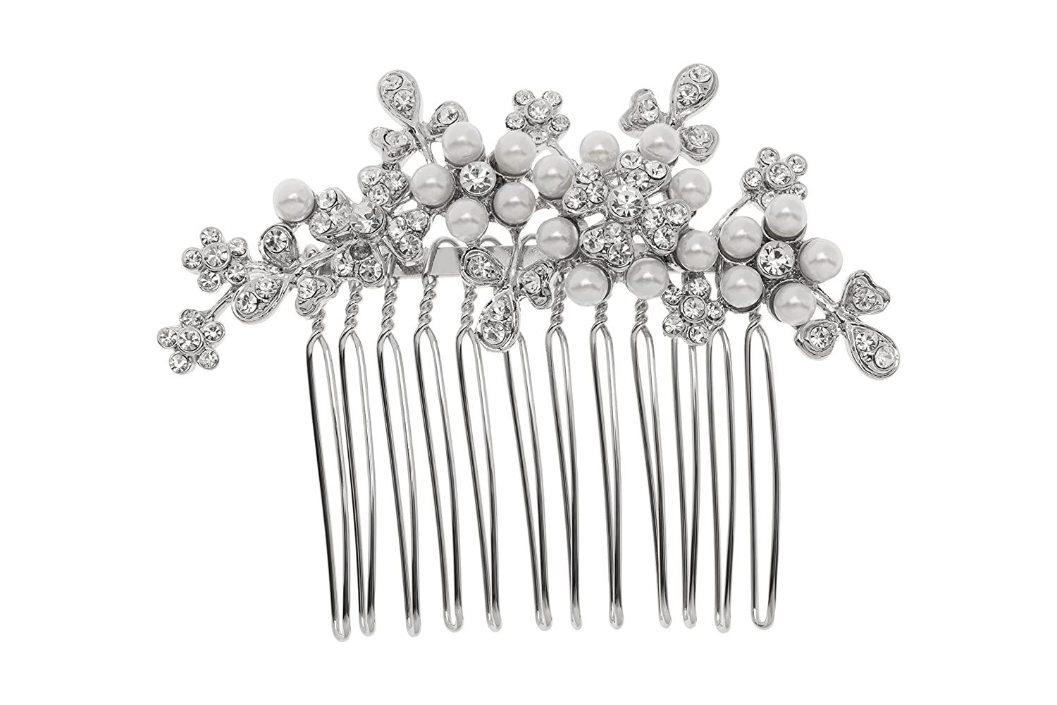 L. Erickson Elle Crystal and Pearl Comb - Crystal/Pearl/Silver