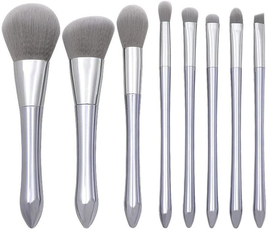 shamrock58 Cosmetics Makeup Brush 8 Pieces Set for Foundation Blending Blush Concealer Eyeshadow Eyeliner Eyebrow Face Kabuki Liquid Powder Cream Premium Synthetic Cruelty-Free Make Up Kit (Silver)
