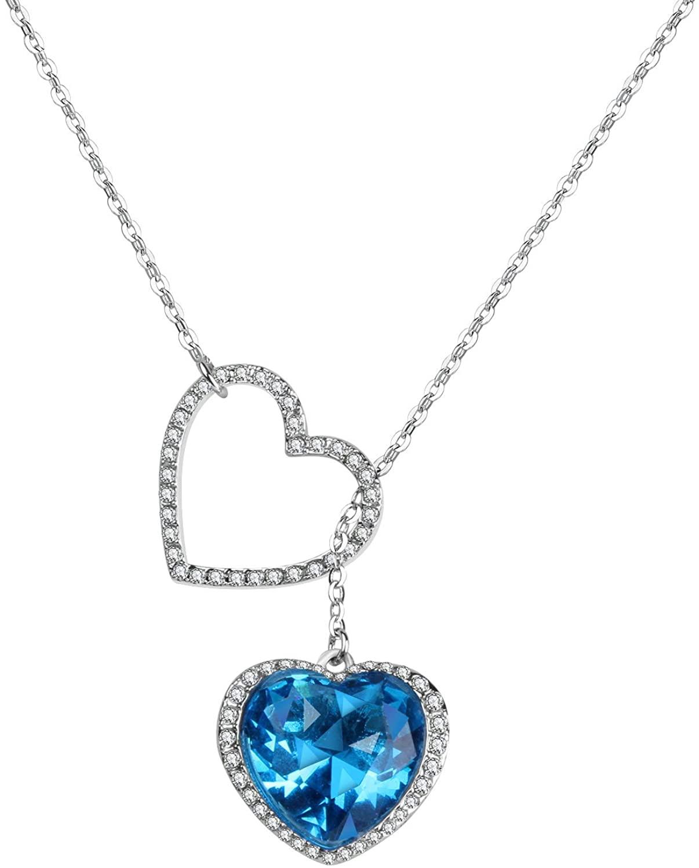 ICObuty Love Necklace Blue Ocean Heart Crystal Alloy Pendant Women Girl Gift