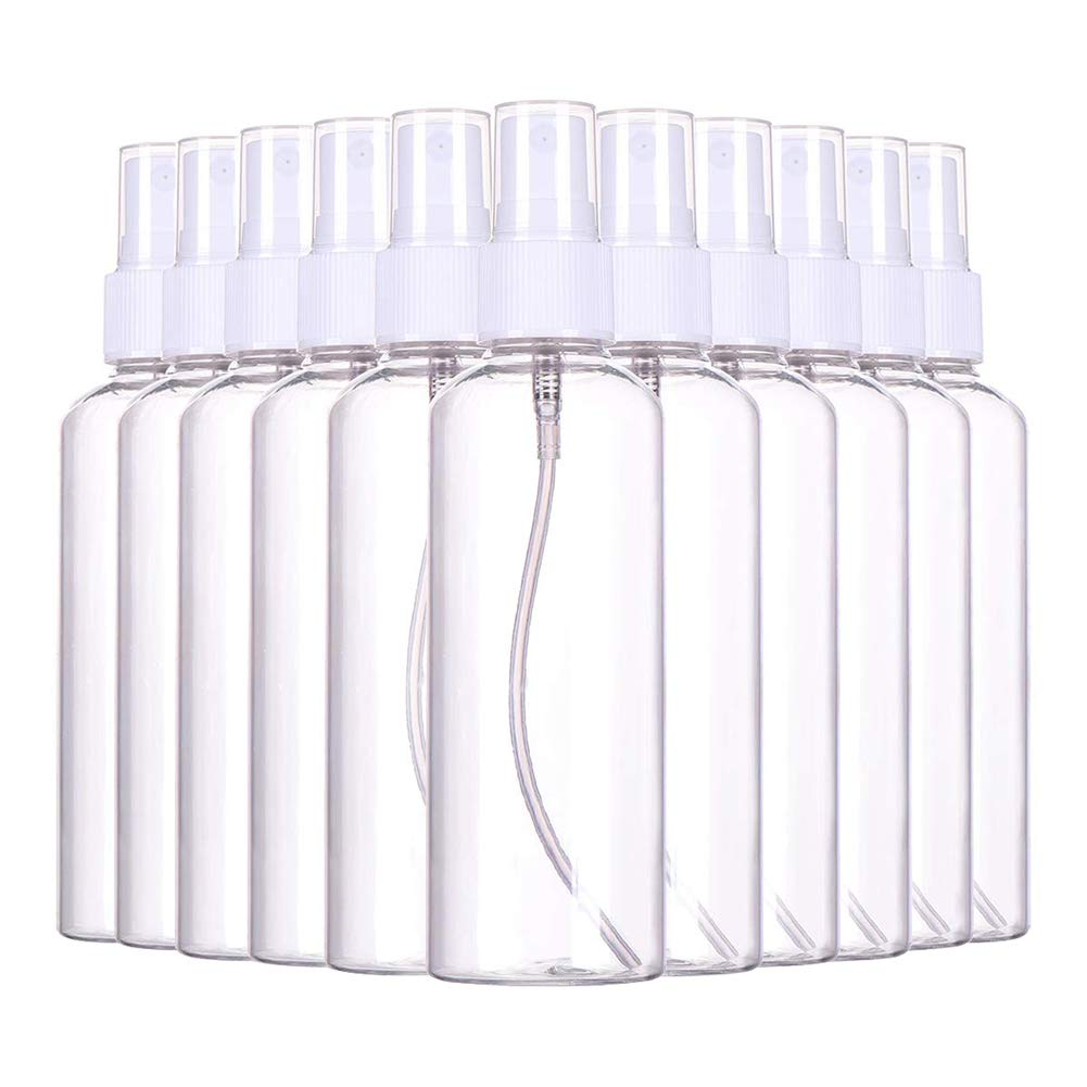 (36 PCS)3.4oz/ 100ml Plastic Clear Spray Bottles,Refillable Fine Mist Sprayer Bottles Makeup Cosmetic Atomizers Empty Small Spray Bottle Container for Essential Oils, Travel, Perfum,36PCS