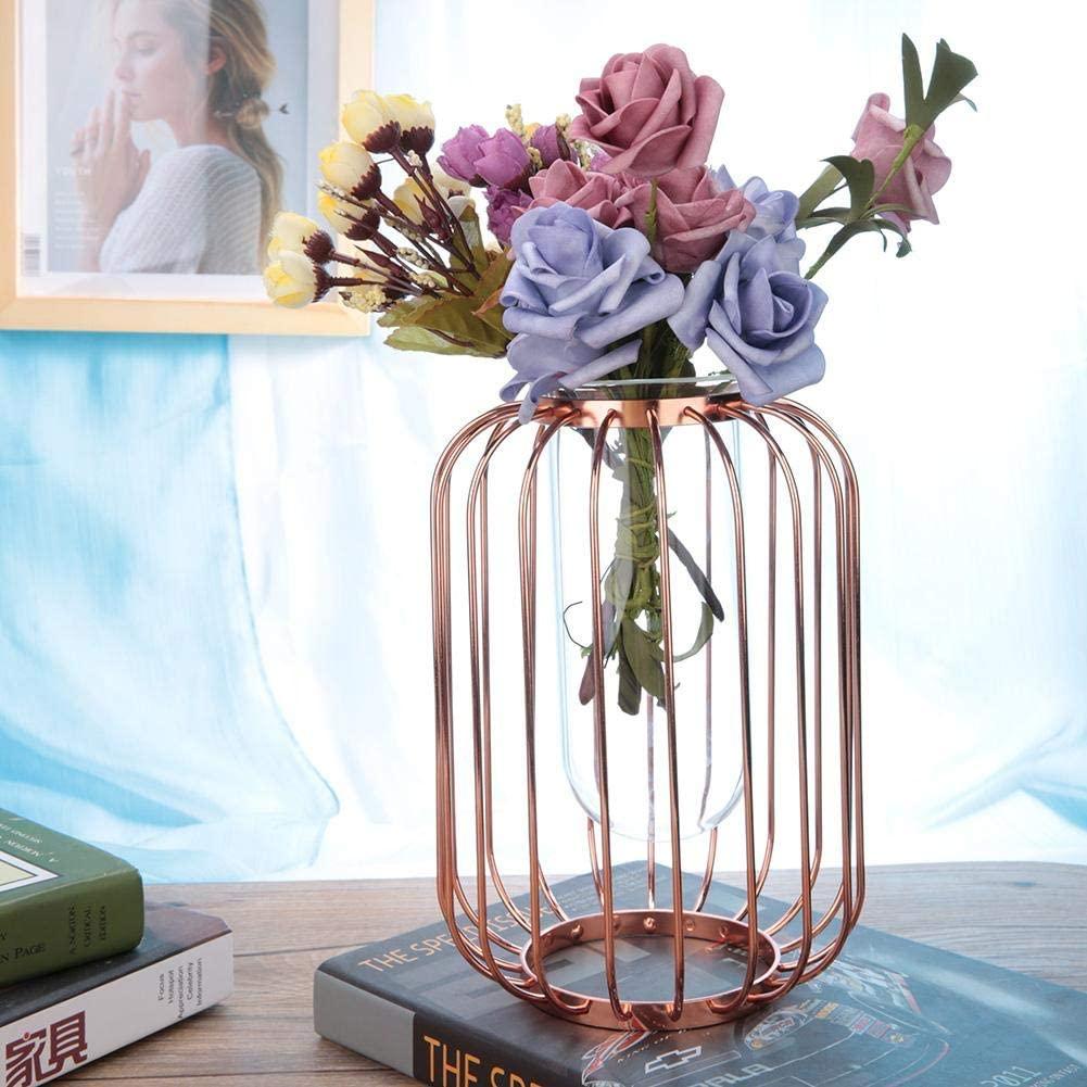 logozoe Geometric Vase Lantern-Shaped Vase, Tabletop Flower Vase, Artificial Wrought Iron Vase, for Home Decor for Office(Rose Gold Trumpet)