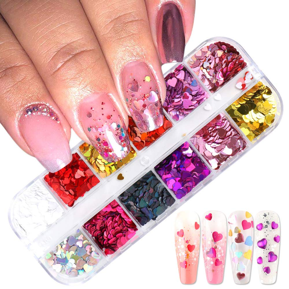 3D Heart Nail Art Glitters Stickers Decals Nail Art Supplies Colorful Love Nail Design Charms Heart Nail Sequins Holographic Laser Flakes Sparkly Foil Nails Accessories Manicure Decorations 12 Grid