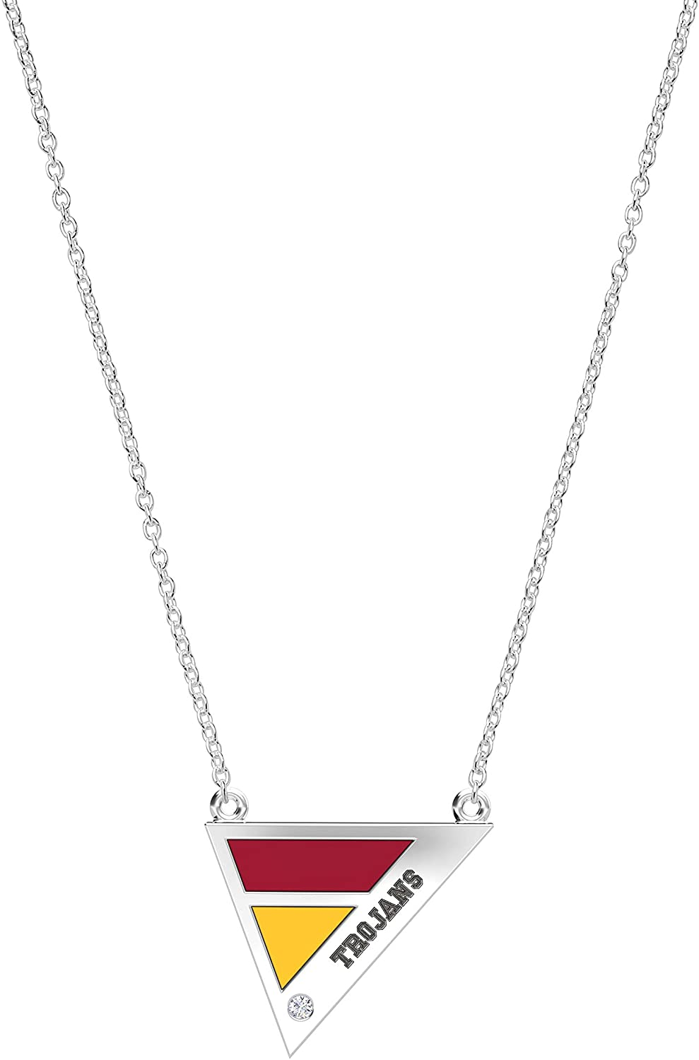 University of Southern California Engraved Sterling Silver Diamond Triple Station Necklace in Red & Yellow