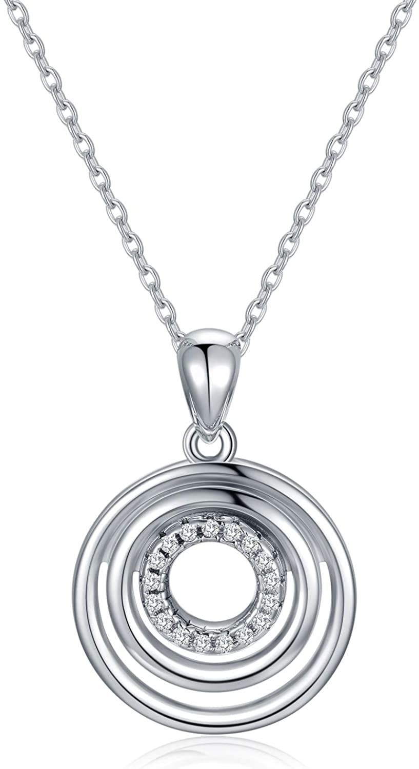 3 Circles Necklace Sterling Silver Multi Round Hoops Drop Generation Pendant CZ Chain Grandma Mother Daughter Friendship Jewelry Gift for Her Women Teens Sister Girlfriend