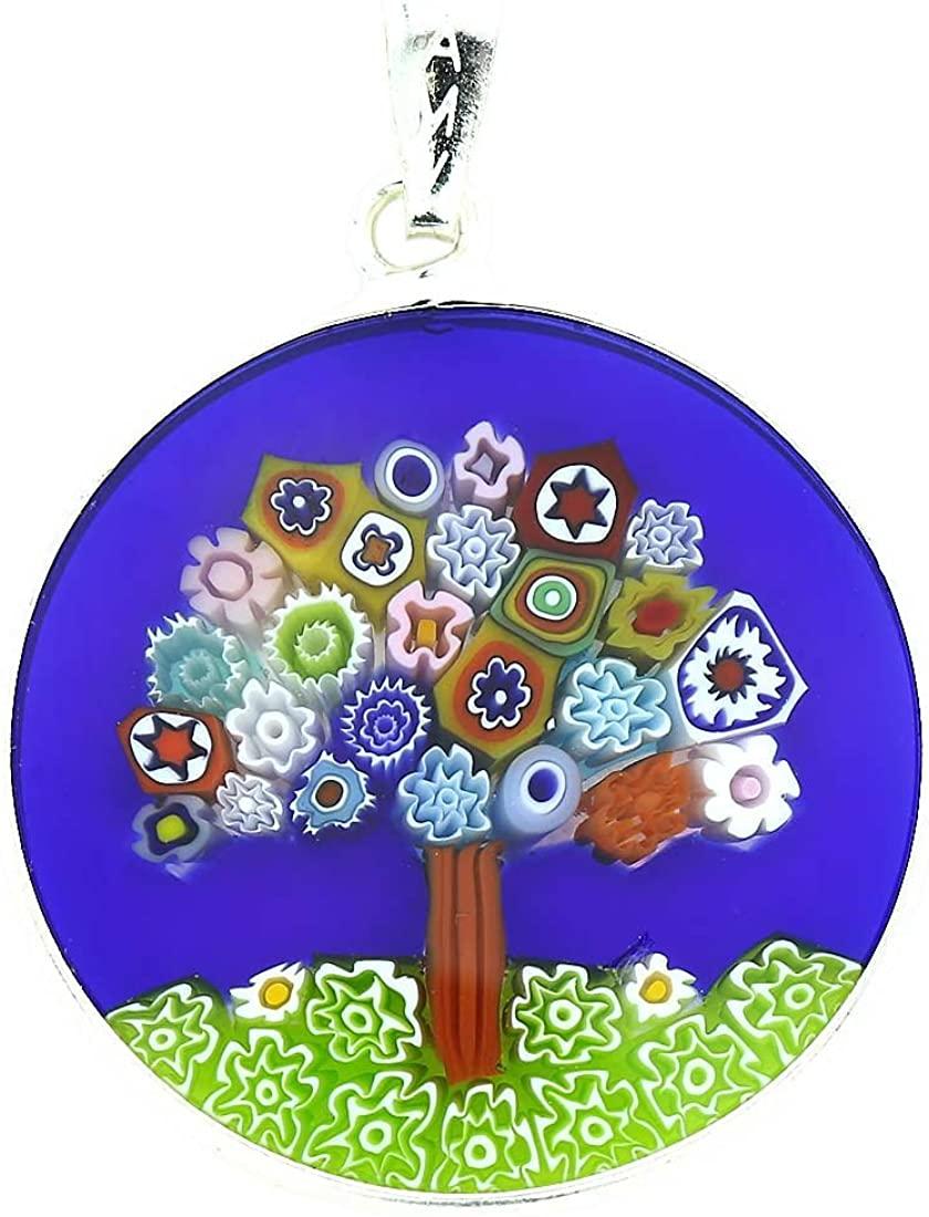 GlassOfVenice Murano Glass Millefiori Pendant Tree of Life in Silver Frame 1