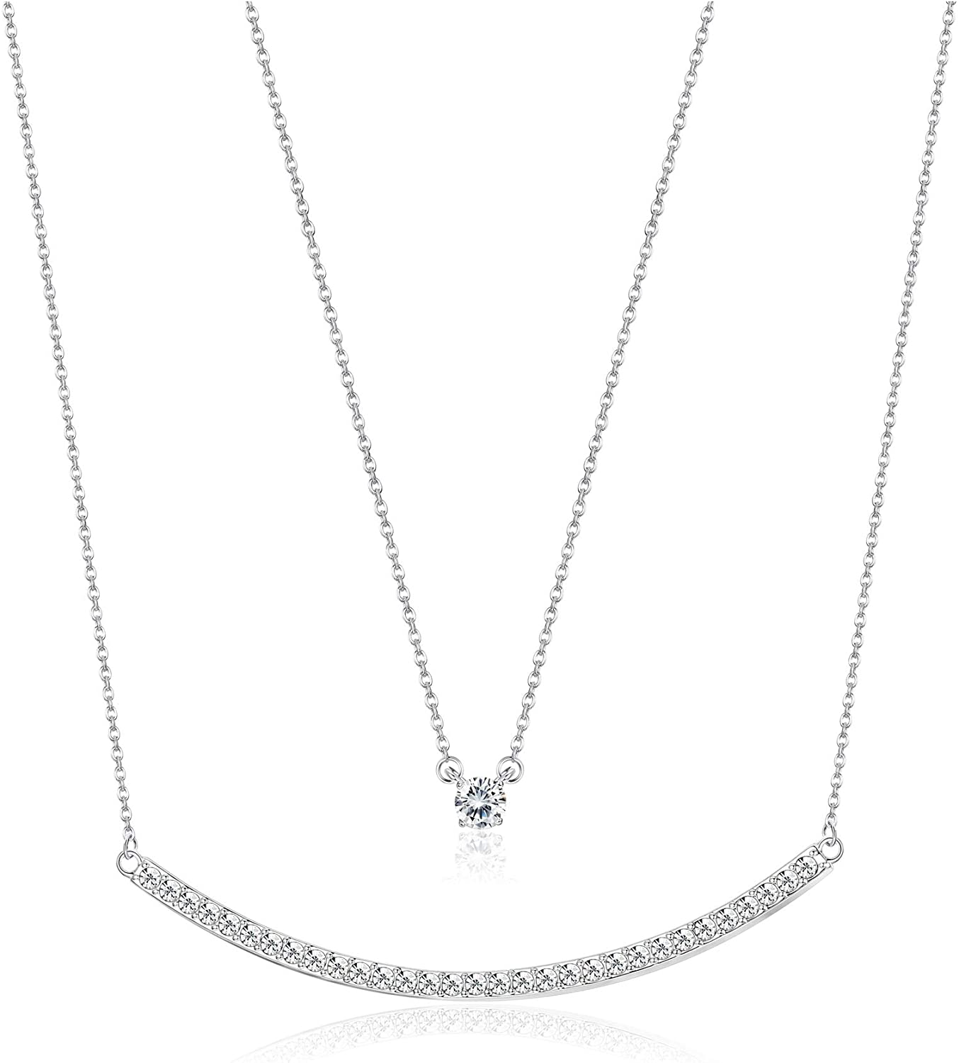 KesaPlan Swarovski Crystal Layered Necklace Double Chain Crystal Necklace for Women, Charm White Gold Necklace Jewelry Gift for Women