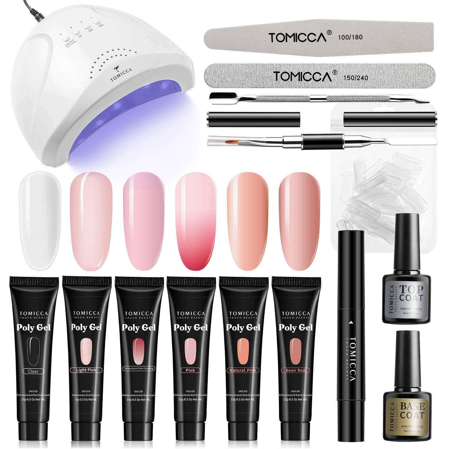 TOMICCA Polygel Nail Kit with LED Lamp, 6 Colors Builder Gel, 24/48W UV/LED Nail Lamp, with Base & Top Coat, Slip Solution, Acrylic Nail Extension Set for Starter & Professional, French Manicure Kit